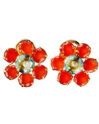 Bounkit | Red Carnelian Flower Stud Earrings | Lyst