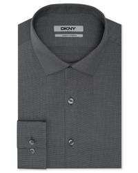DKNY - Gray Slim-fit Solid Dress Shirt for Men - Lyst