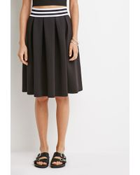 Forever 21 | Black Varsity Stripe Pleated Skirt | Lyst