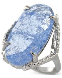 Vince Camuto | Silver-Tone Blue Glass Crackle Stone Ring | Lyst