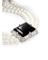 Kenneth Jay Lane | Black Jet Stone Pearl Choker | Lyst