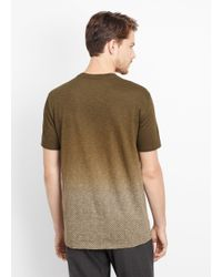 Vince - Green Ombré Herringbone Short Sleeve Crew Neck Tee for Men - Lyst