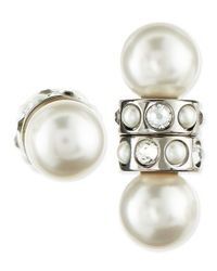 Givenchy | White Magnetic Faux Pearl & Crystal Earrings | Lyst