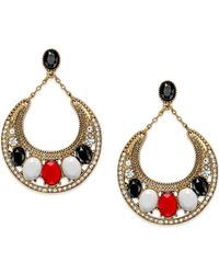 INC International Concepts | Red Gold-tone Stone Circle Drop Earrings | Lyst