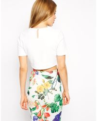 ASOS - White Crop Top With Curved Hem In Coated Fabric - Lyst