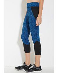 Forever 21 | Blue Active Space-dye Capri Leggings | Lyst