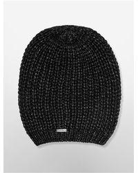 Calvin Klein - Black White Label Metallic Slouchy Beanie - Lyst