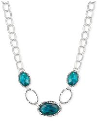Jones New York   Metallic Silver-tone Oval Stone Collar Necklace   Lyst