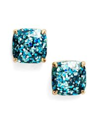 kate spade new york | Blue Glitter Stud Earrings - Turquoise Glitter | Lyst