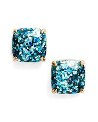Kate Spade | Blue Glitter Stud Earrings - Turquoise Glitter | Lyst