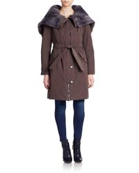 Max Mara | Brown Faux Fur-trimmed Parka | Lyst