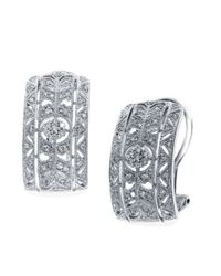 Effy | Classica 14k White Gold Diamond Earrings | Lyst