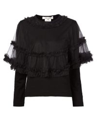 Comme des Garçons - Black Sheer Cape Sweater - Lyst