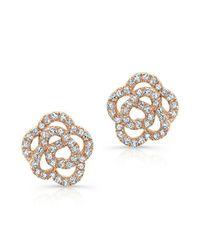 Anne Sisteron - Pink 14kt Rose Gold Diamond Camellia Flower Stud Earrings - Lyst
