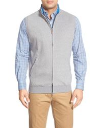 Peter Millar - Gray Zip Front Fleece Vest for Men - Lyst