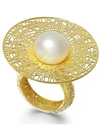 Macy's | Metallic Cultured Freshwater Pearl Flower Ring In 18k Gold Over Sterling Silver (11mm) | Lyst