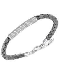 Swarovski - Metallic Leather Braid Crystal Pavé Bracelet - Lyst