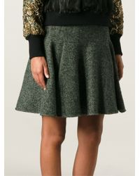 Dolce & Gabbana | Green Pleated Herringbone Skirt | Lyst