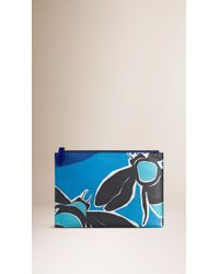 Burberry Brit - Blue Large Insects Of Britain Print Leather Beauty Wallet - Lyst