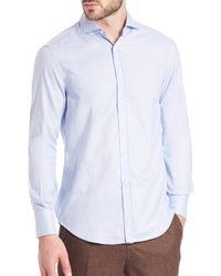 Brunello Cucinelli - Blue Mini Grid-print Cotton Sportshirt for Men - Lyst
