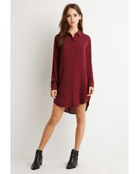 Forever 21 - Purple Buttoned Shirt Dress - Lyst