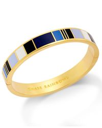 Kate Spade | Blue 12k Gold-plated Chase Rainbows Idiom Multicolor Bangle Bracelet | Lyst