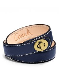 COACH - Blue Leather Double Wrap Turnlock Bracelet - Lyst