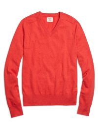 Brooks Brothers | Red Cotton Cashmere V-neck Sweater for Men | Lyst