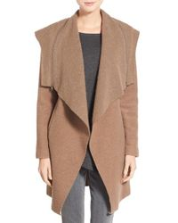 BB Dakota | Brown 'hudson' Zip Detail Hooded Drape Front Coat | Lyst