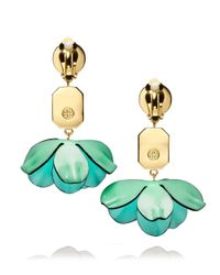 Tory Burch - Green Pentier Embellished Dangle Earring - Lyst