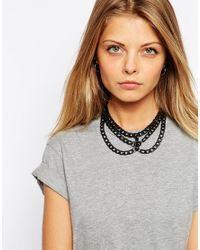ASOS - Black Triple Chain Choker Necklace - Lyst