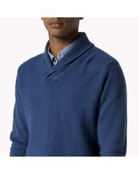 Tommy Hilfiger | Blue Wool Blend Shawl Neck Cardigan for Men | Lyst