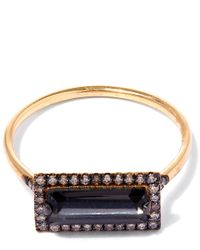 Suzanne Kalan | Metallic Gold Baguette Quartz Diamond Ring | Lyst