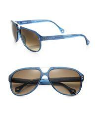 Ermenegildo Zegna Blue Resin Aviator Sunglasses for men