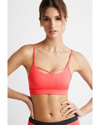 Forever 21 | Pink Low Impact - Crisscross Sports Bra | Lyst