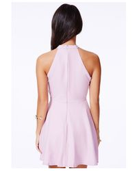 Missguided - Purple Adelia Halterneck Skater Dress In Lilac - Lyst