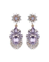 Mikey - Purple Flower Drop Fillagary Flower Earring - Lyst