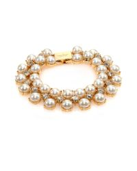 kate spade new york | Metallic Twinkling Fete Crystal & Faux Pearl Bracelet | Lyst
