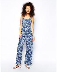 ASOS - Blue Denim Strappy Wide Leg Jumpsuit In Floral Print - Lyst