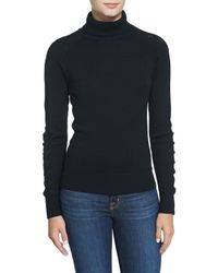 MILLY - Black Detailed Long-sleeve Turtleneck - Lyst