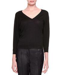 Bottega Veneta - Black Merino Wool V-neck Sweater - Lyst