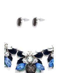 Forever 21 - Blue Rhinestone Statement Necklace And Earring Set - Lyst