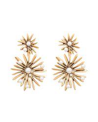 Oscar de la Renta - Metallic Russian Gold & Pearl Starburst Drop Earrings - Lyst