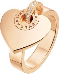 BVLGARI | - Cuore 18kt Pink-gold And Pave Diamond Ring | Lyst