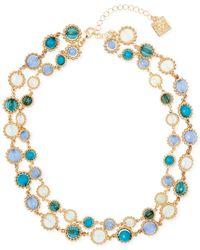 Anne Klein | Metallic Gold-tone Multi-stone Two-row Necklace | Lyst