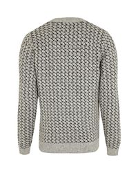River Island - Gray Grey Reindeer Christmas Sweater for Men - Lyst