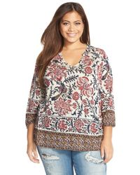 Lucky Brand - Natural 'painted Scarf' Split Neck Top - Lyst