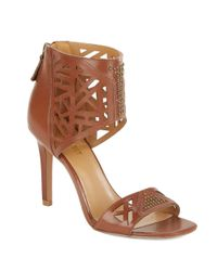 Nine West | Brown Karabee Stiletto Leather Sandals | Lyst