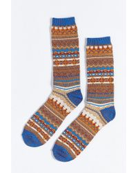Urban Outfitters | Brown Lightweight Fair Isle Crew Sock for Men | Lyst