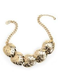 Juicy Couture | Metallic Palm Leaf Statement Necklace | Lyst
